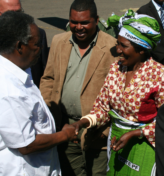 Inonge Wina Welcoming President Sata in Mongu