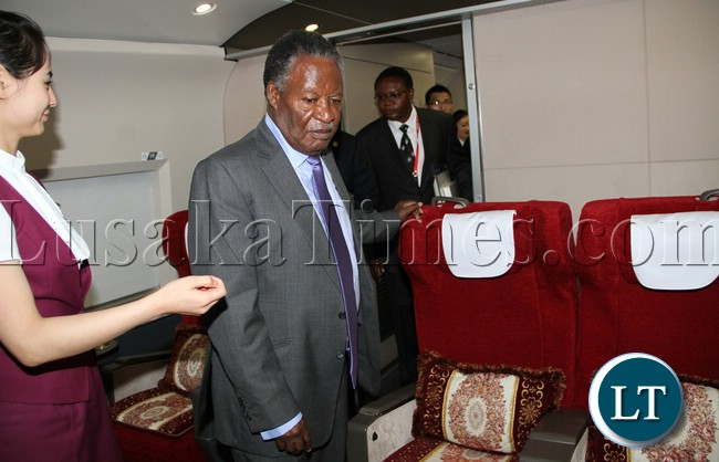 President Micheal Sata in the first Class coach on Chinese high Speed train CRH from Sanya to BOAO Summit on Sunday picture by Eddie Mwanaleza /Statehouse 07-04-2013.