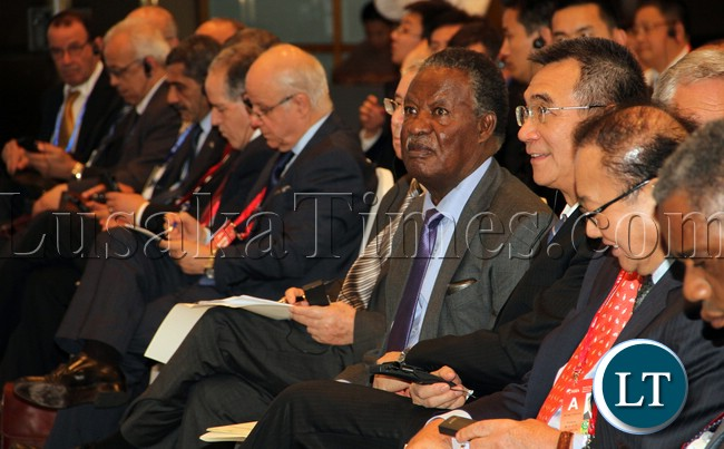 President Micheal Sata at at the Africa;Rise of an Ancient Continent Business at BOAO Forum for Asia annual conference in Sanya Hainan Province , China picture by Eddie Mwanaleza/Statehouse 07-04-2013.