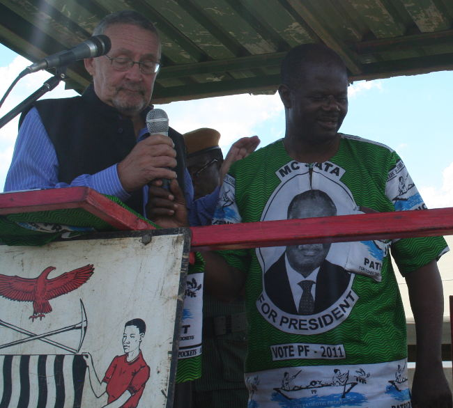 Vice president Dr Guy Scott ,introducing the patriotic front candidate Eddie Musonda to the electorate for the forthcoming by-elections at Lukombe secondary school in kapiri mposhi.