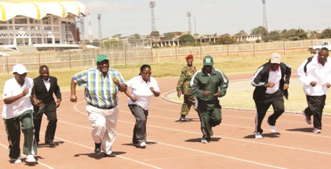 (L-R), Brigadier General Evelyn Mkakangoma, Minister of Defence Geoffrey Mwamba, Permanent Secretary Rose Salukatula, Army Commander Paul Mihova, Air Force Commander Eric Chimese and Zambia National Service Commandant Nathan Mulenga at the Olympic Youth Development Centre yesterday. – Picture by JEAN MANDELA.