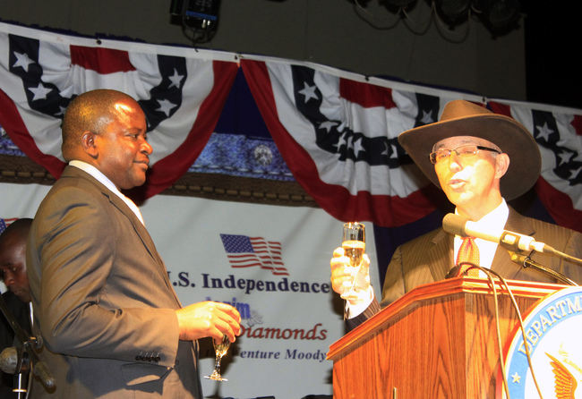 American Ambassador to Zambia Mark Storella (right) proposes a toast as Deputy Minister in the Office of the Vice President Davies Mwango looks on during the commemoration of the 237th United States Independence Day in Lusaka recently