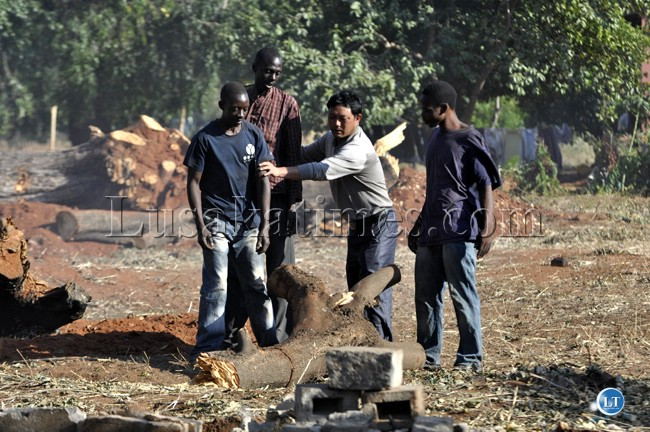 File:A Chinese lodge owner with his Zambia workers making preparatory works for the hosting of the UNWTO general conference in Livingstone