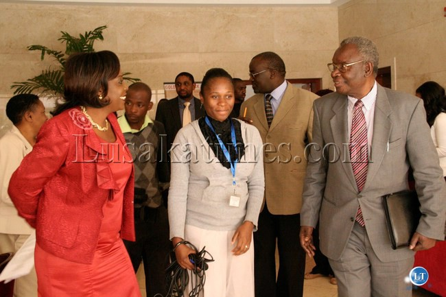 FILE: Health Minister Dr. Joseph Kasonde (r) converses with Radiation Protection Authority (RPA) Chairperson Dr. Esther Munalula Nkandu (l) after  officiating the Inauguration Ceremony for the Radiation Protection Authority Board at Golden Peacock Hotel in Lusaka