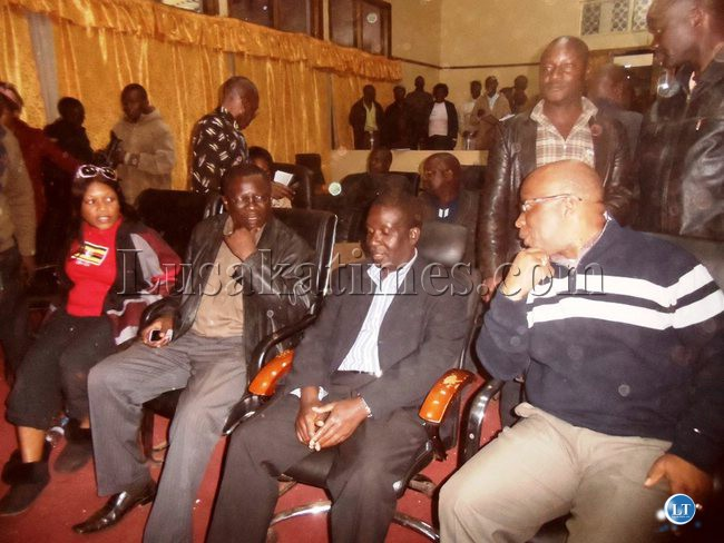 L-R: Kasenengwa Member of Parliament(MP) Victoria Kalima, Chembe MP Mwansa Mbulakulima, Newly re-elected Chipata Central MP Reuben Mtolo Phiri and MMD leader Nevers Mumba waiting for the final election results at Chipata Municipal Council