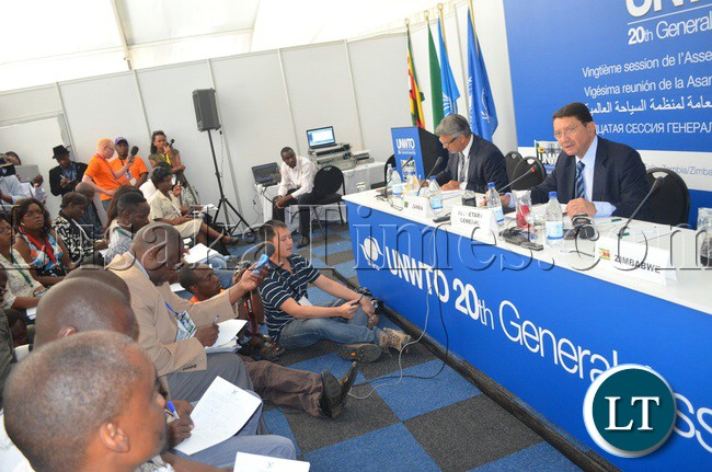 UNWTO general secretary Taleb Rifai addresseses international journalists covering the general assembly during the first media briefing at Elephant Hills Hotel