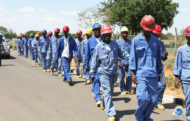 Construction workers at the Kenneth Kaunda international airport