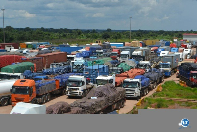 SOME of the marooned trucks at Kasumbalesa Border Post in Chililabombwe following the boycott by international drivers to cross into the Democratic Republic of Congo.