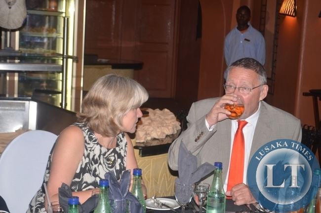 Vice President Guy Scott (right) and his wife Charlotte (left) during a dinner hosted for delegates attending the ongoing 3rd International Association of Prosecutors (IAP) Conference for the Africa-India Ocean Region at Zambezi Sun Hotel in Livingstone