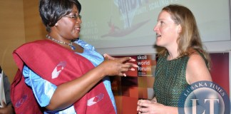 First Lady Dr Christine Kaseba speaks with Mulago Foundation Associate Portfolio Director Kristin Gilliss (r) after a discussion on the Impact Jackpot: Service delivery Innovation for the very poor . This was during the Skoll World Forum on Social Entrepreneurship at Oxford University in UK on April 11,2014 -Picture by THOMAS NSAMA