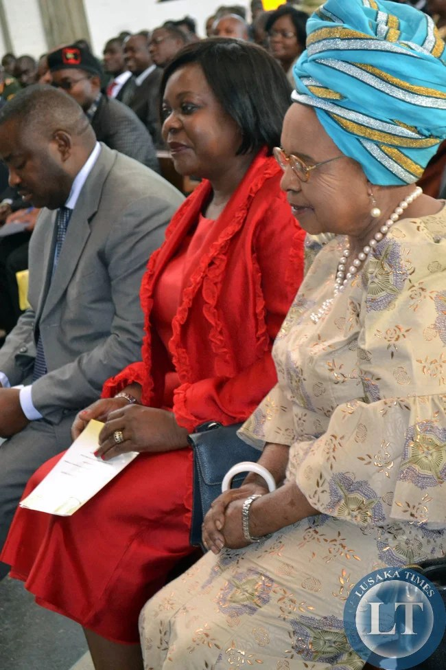 Former First Lady Dr Maureen Mwanawasa with Mama Chibesa Kankasa at the church service to commemorate the 90th birthday of First Republican President Kenneth Kaunda in Lusaka