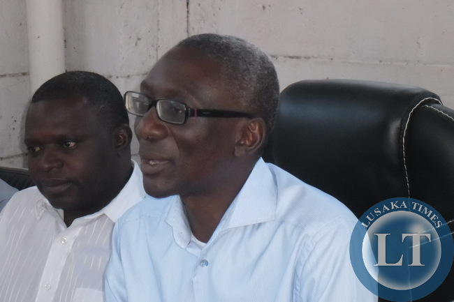 Elias Chipimo speaking at the press briefing at the NAREP Secretariat