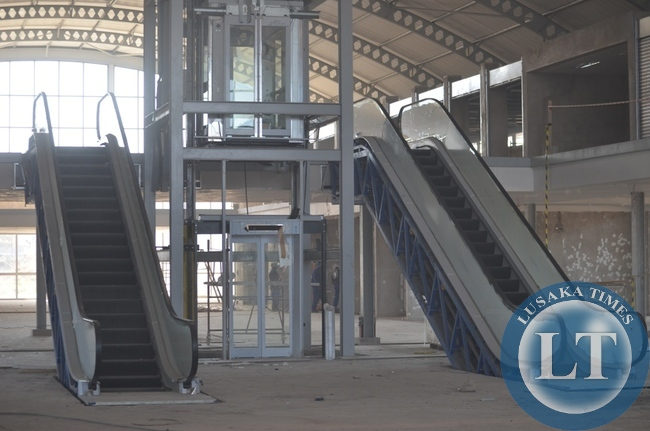Above are the two newly installed escalators at the new international bus terminus in Livingstone.