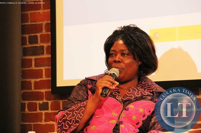 Minister of Tourism and Arts Jean Kapata speaking at a panel discussion on Investment and Tourism in Africa on 8 Sept 2014 in New York. PHOTO | Chibaula D. Silwamba | Zambia UN Mission