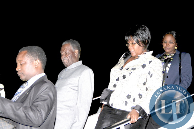FILE: President Sata and First Lady Dr Christine Kaseba alight from the Aircraft on arrival at  JFK International Airport in New York  for the 69th UN General Assembly  on September 20 ,2014 -Picture by THOMAS NSAMA