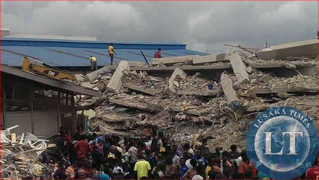 The Synagogue, Church Of All Nations building collapse.Picture courtesy of Ihechukwu Njoku