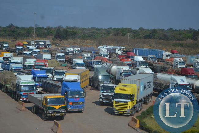 Trucks waiting to be cleared at Kasumbalesa border