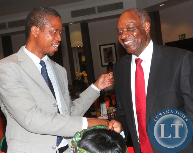 Edgar Lungu and Vernon Mwaanga