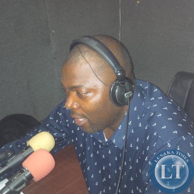 Bowman Lusambo in the Mazabuka FM studio
