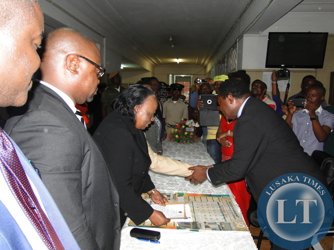 January 20 presidential election returning officer, acting Chief Justice Lombe Chibesakunda receiving nominations