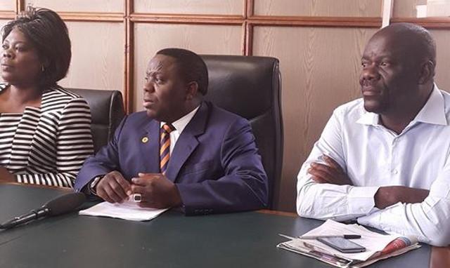 Harry Kalaba, Jean Kapata and Mwimba Malama, Davies Mwila addressing the press