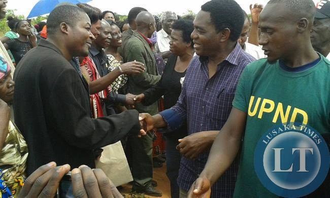 UPND President Hakainde Hichilema interacts with his supporters in Kabwe