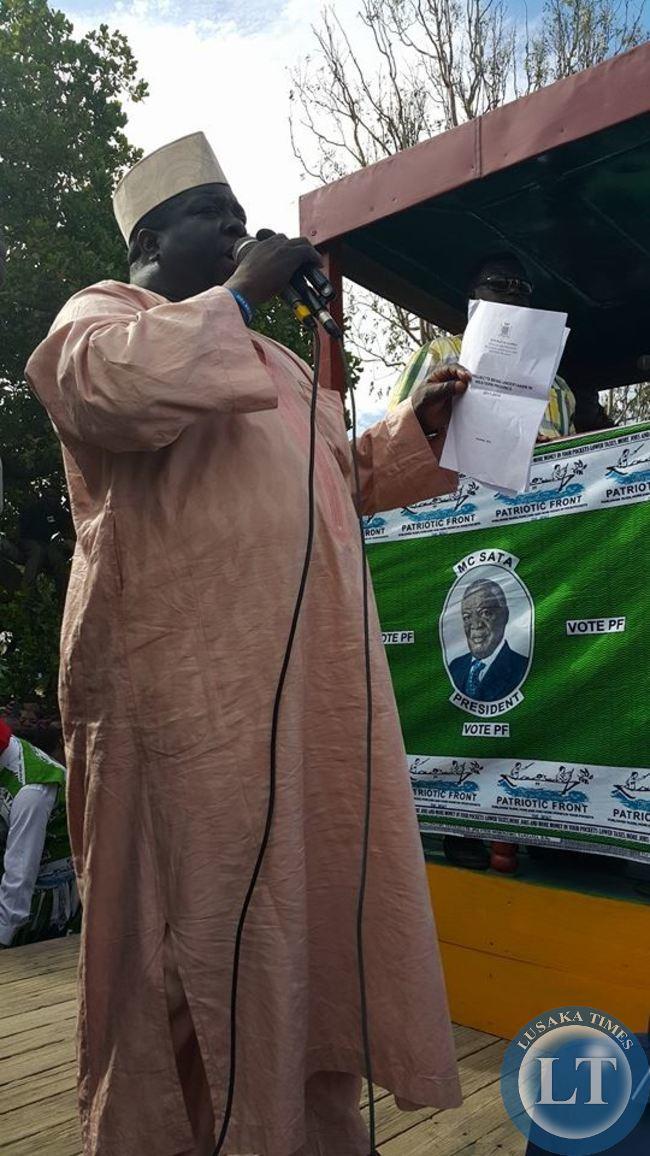 Kambwili addressing the rally in Mongu