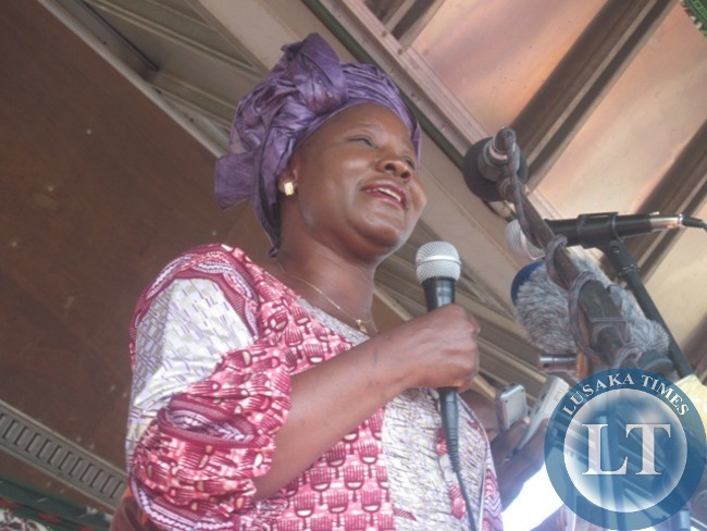 FORUM for Democracy and Development (FFD) President Edith Nawakwi addressing a rally at the Changanamai grounds in Kitwe