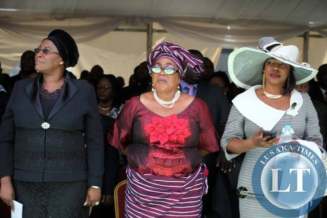 Christne Kaseba, Vera Chiluba and Regina Mwanza at the inuaguration
