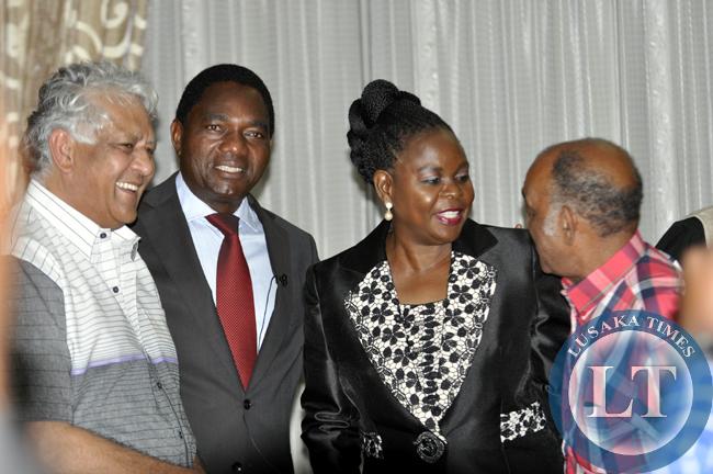 Dipak Patel (l), Hakainde Hichilema, Dr Maureen Mwanawasa and political activist Dante Saunders