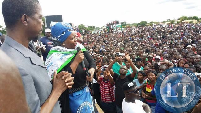 Dora Siliya addressing the Petauke crowd