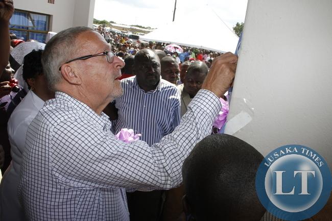Dr Guy Scott during the commissioning of the Guy Scott Mini- Hospital in Chingola's Kapisha -Soweto on January 3,2015 -Picture byTHOMAS NSAMA