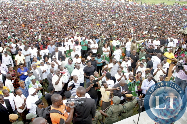 Acting President Dr Guy Scott Addresses a rally for PF president Edgar Lungu in Ndola on January 19,2015 -Picture by THOMAS NSAMA