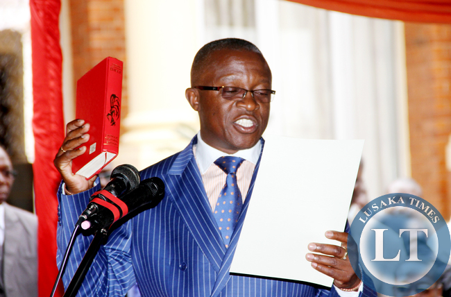 State House permanent Secretary Emmanuel Chilubanama during the Swearing-in-Ceremony at State House on January 26,2015 -Picture by THOMAS NSAMA