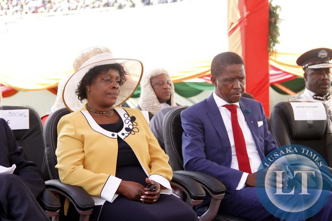 President Edgar Lungu with the First Lady Esther Lungu Chibesakunda during his Inauguration Ceremony at  Heroes Stadium on January 25,2015 -Picture by THOMAS NSAMA