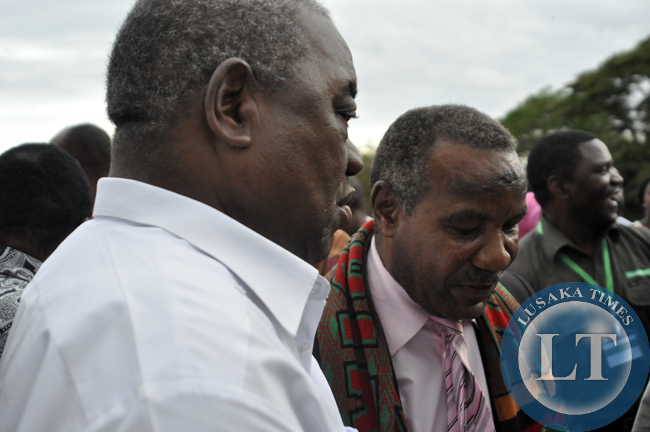 Former president Rupiah Banda with former vice president Lupando Mwape during the political rally for Edgar Lungu.