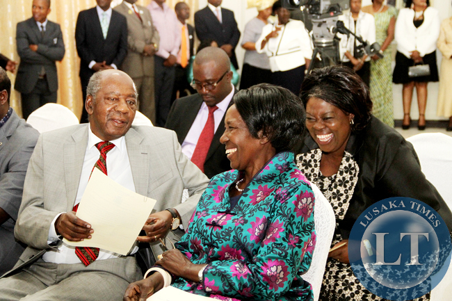 Vice-President Inonge Wina, with Finance minister Alexander Chikwanda and  Tourism minister Jean Kapata shortly before the Swearing-in-Ceremony at State House on January 26,2015 -Picture by THOMAS NSAMA