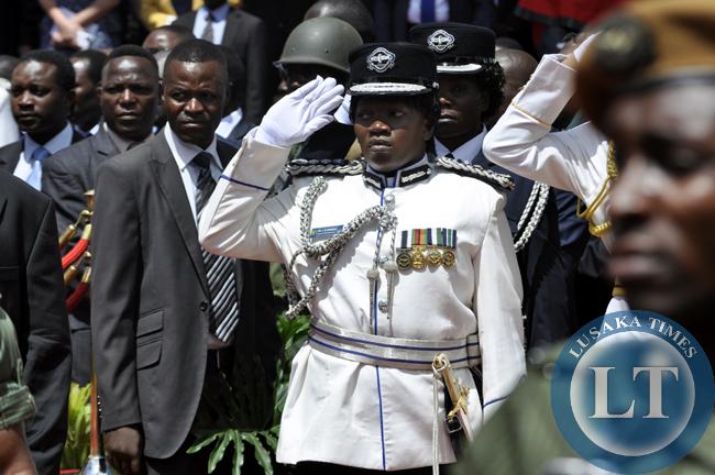 Inspector General of Police Stella Libongani salutes during President Lungu's innauguration