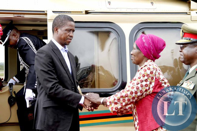 President Edgar Lungu bids farewell to Acting President Inonge Wina on arrival at Kenneth Kaunda International Airport shortly before departure to Addis Ababa, Ethiopia for the African Union Summit on January 29,2015 -Picture by THOMAS NSAMA
