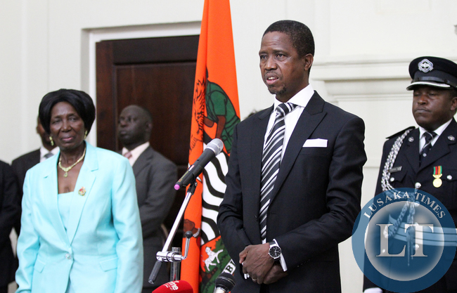 President Edgah Lungu with Vice President Mrs Inonge Wina at Statehouse Swearing in ceremony on wednesday 28-01-20-25.Picture by Eddie Mwanaleza.