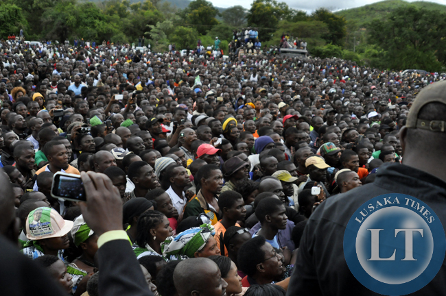Some of the people who attended the joint rally between former president Rupiah Banda and Edgar Lungu in Chipata.