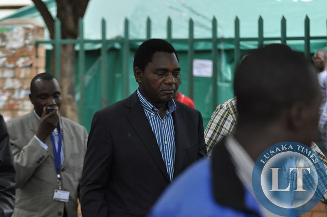 UPND president Hakainde Hichilema leaves the City Library Polling Centre in Lusaka