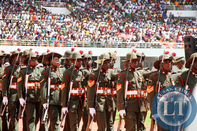 Zambia Army personnel  during the Inauguration Ceremony of President Edgar Lungu at Heroes Stadium on January 25,2015 -Picture by THOMAS NSAMA