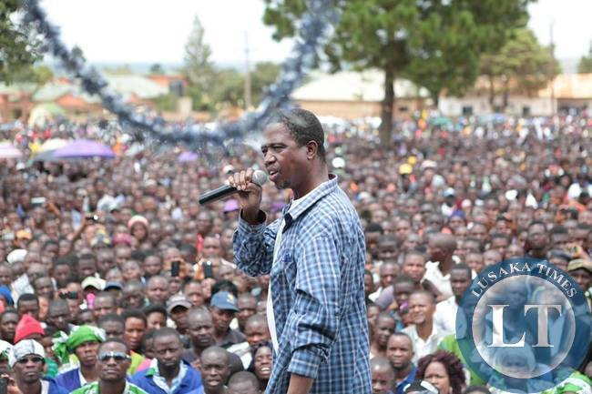 PF President Edgar Lungu addressing the rally in Nakonde