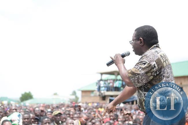 Samuel Mukupa addressing the rally in Nakonde