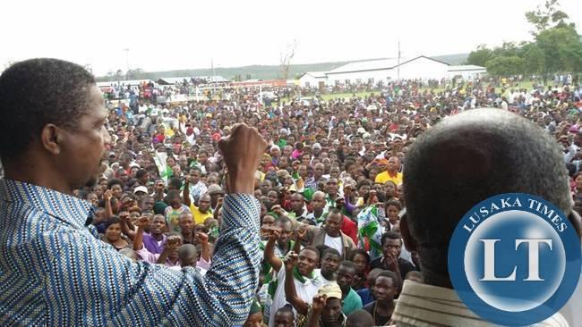 PF President Edgar Lungu addresses a Rally in Serenje