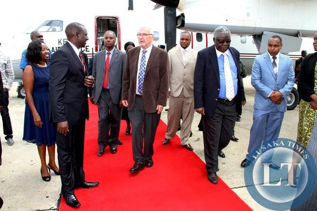 Deputy President of Kenya  Willian Ruto met by Acting President Guy Scott