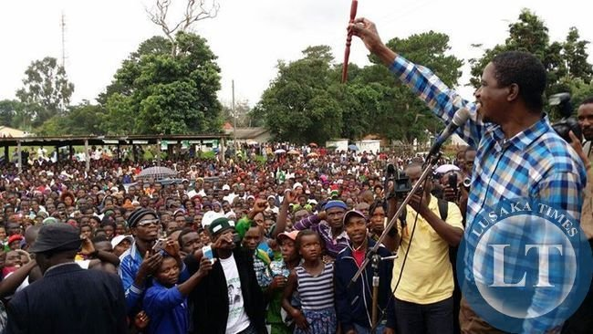 Patriotic Front (PF) President,Hon.Edgar Chagwa Lungu greets his supporters in Nchelenge on Sunday