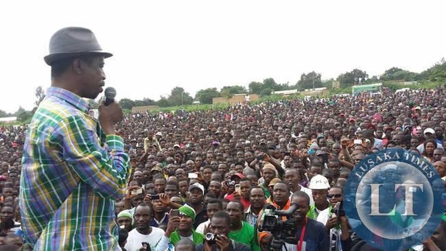 Edgar Lungu  addressing the  rally in Solwezi