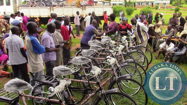 Bicycles donated to village head persons by Kasenengwa MP Victoria Kalima